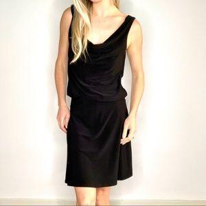 White House Black Market Black Drape Neck Dress 4